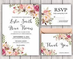 Floral Wedding Invitation Printable Boho Chic Suite Rustic DIY Bohemian Invite Invitational