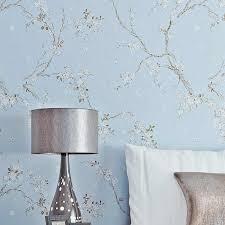 vintage chinesische blumen wand papiere dekoration blau grau