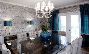 View In Gallery Wallpaper Shapes The Perfect Backdrop For Brilliant Blue Accents Design Atmosphere Interior