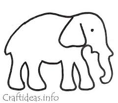 Craft Template And Coloring Book Page For An Elephant