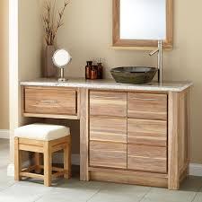 60 venica teak vessel sink vanity with makeup area whitewash