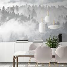 tapete wald nebel haus deko gold esszimmer dekor