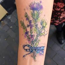 25 Scottish Heather Thistle And Tartan On Forearm