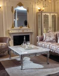 casa padrino luxus barock couchtisch weiß silber 129 x 93 x h 44 cm rechteckiger massivholz wohnzimmertisch im barockstil barock wohnzimmer