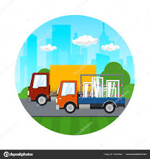 Icon Of Small Trucks Drive On The Road — Stock Vector © Serz72 ...