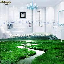 beibehang 3d pvc bodenbelag custom foto boden gemalt wand tapete badezimmer gras verschneiten berg 3d boden papel de parede