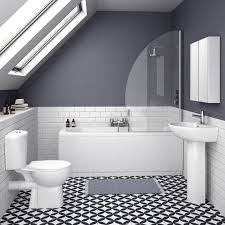 Yellow Grey Bathroom Ideas by White And Grey Bathroom With Yellow Accents And Faux Wood Flooring