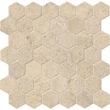 American Olean Porcelain Mosaic Tile by Ms International Coastal Sand Hexagon 12 In X 12 In X 10 Mm