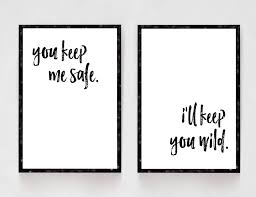 You Keep Me Safe Ill Wild Bedroom Decor Black And White Prints Printshopstudio On Etsy