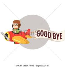 Boy Riding Plane And Say Goodbye Vector