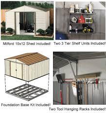arrow 10x12 milford shed w foundation shelving vm1012 fdn1014