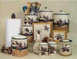 Kitchen Theme Decor Sets Coffee Pine Patterned Canisters Set