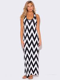 plus size chevron print racer back maxi dress modish