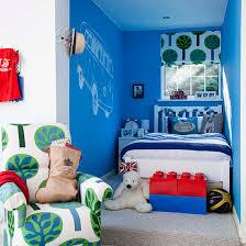Boys Bedroom With Campervan Motif And Lego Storage