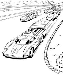 Four Car Hot Wheels Speeding Coloring Page