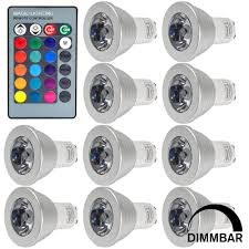 10pcs gu10 3w led rgb light 16 colour changing smd leds led