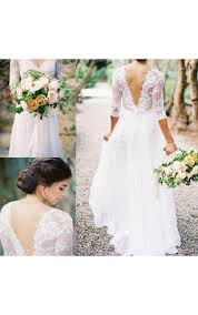 Lace Bodice A Line Chiffon Gown With V Neck And Back