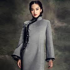 modified cheongsam dress trumpet sleeve w cony hair binding grey