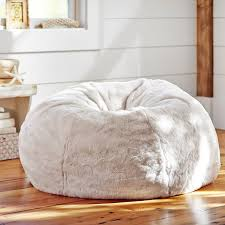 Ivory Polar Bear Faux Fur Beanbag