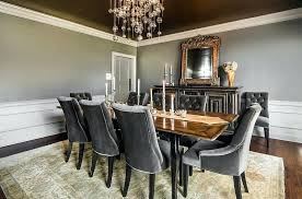 Decoration Extensive Use Of Gray In The Transitional Dining Room Design Bespoke Lighting Fixtures