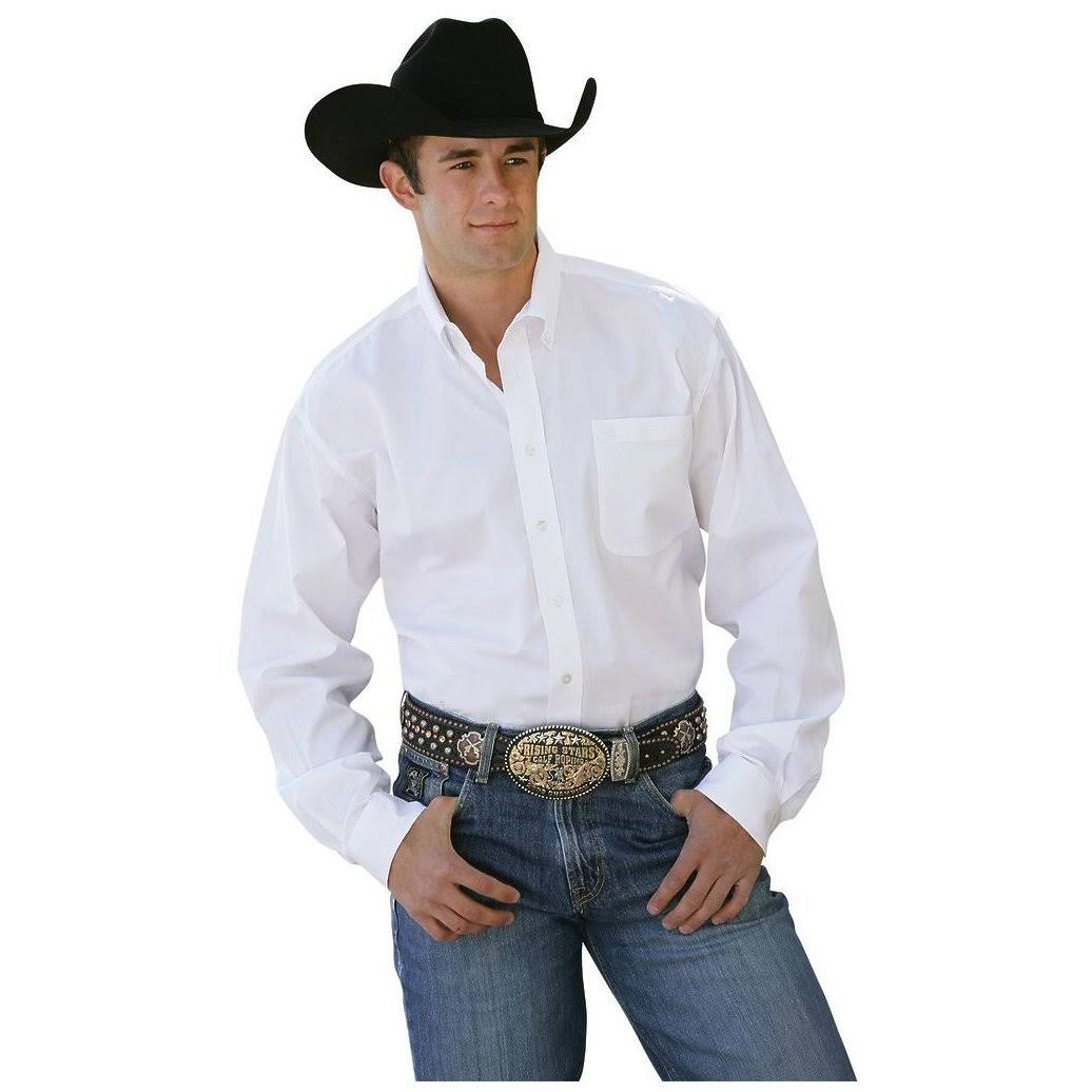Cinch Men's Pinpoint White Solid L/S Shirt