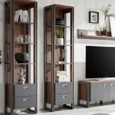 details zu regal detroit stirling oak und anthrazit bücherregal wohnzimmer büro schrank