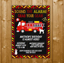 Firetruck Party Invitation Printable Digital Download Birthday Party ...