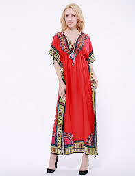 women african dresses v neck floral print dashiki maxi dresses