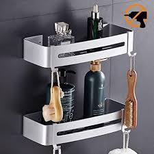 hodzeed befestigen ohne bohren badregal 2 etagen rostfrei aluminiumlegierung bad duschablage duschkorb für shoo