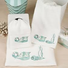 Decorative Hand Towel Sets by Coastal Dinnerware With Seashells Seashell White Beach Decor