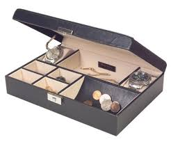 mens jewelry valet box black faux leather with handsome detail