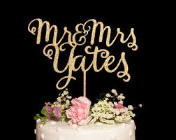 Custom Calligraphy Mr And Mrs Wedding Cake Topper Gold