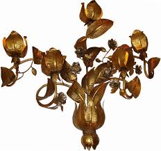 large 1950 s modern sculptural floral wall sconce in gold modernism