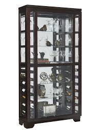 sliding front wine curio cabinet in dark brown by pulaski home