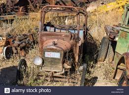 Vintage Rusty Truck Stripped Of Parts In Salvage Yard Stock Photo ...