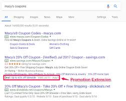 Promotion Extensions: A New Feature In Google AdWords ... Macy Promo Code Free Shipping Homewood Suites Special Promotion Exteions A New Feature In Google Adwords Pyrex 22piece Container Set 30 At Macys Free Shipping Yield To Maturity Calculator Coupon Bond Dry Cleaning Coupon Code Save Big With Latest Promo 2013 Amber Paradise Discount Voucher Online Canada Jcpenney Coupons Codes Up 80 Off Nov19 60 Off Martha Stewart Cast Iron The Krazy Daily Update 100 Working 6 Chair Recliner Sofa For 111 200 311 Ymmv Closeout Coach Accsories As Low 1743 Macyscom Kids Recliners Big Lots