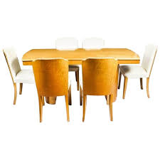 1930s Art Deco Birds Eye Maple Dining Table And Six Chairs For Sale