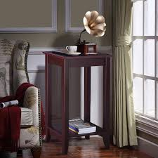 Details About Tall Wooden Wood Sofa End Table Side Table Brown Bedroom Living Room Storage New