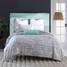 Blue Tie Dye Bedding by Amy Sia Artisan Reversible Twin Comforter Set In Grey Tie Dye