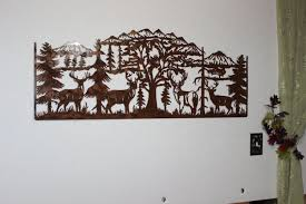 Custom Made Deer And Mountain Scene With 4 Majestic Bucks Large Metal Wall Art Country Rustic