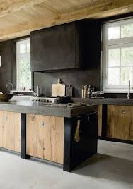 Beautiful Timber And Concrete Kitchen Unfinished Wood On The Cabinetry Ceiling Gives This Space A Rustic Feel Blends Nicely With Dark Coloured