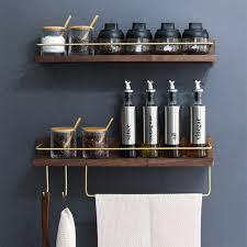 holz und kupfer material bad regal küche regal handtuch ring haken gold aufhänger rack