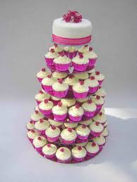 Cupcake Tower With Rosette Top All Golden Cool Wedding Cupcakes Th Anniversary