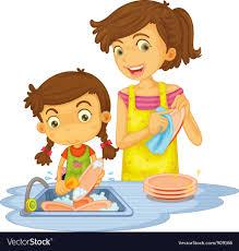 Washing Dishes Vector Image
