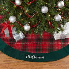 Buy Personalized Plaid Christmas Tree Skirt In Festive Holiday Red And Green
