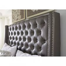 Black Leather Headboard With Crystals by Crystal Tufted Bedroom Set King Sized Extra Tall Pink Dupioni Silk