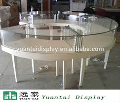 White Round Wooden Glass Jewelry Display Showcase Shop Counter Table Design