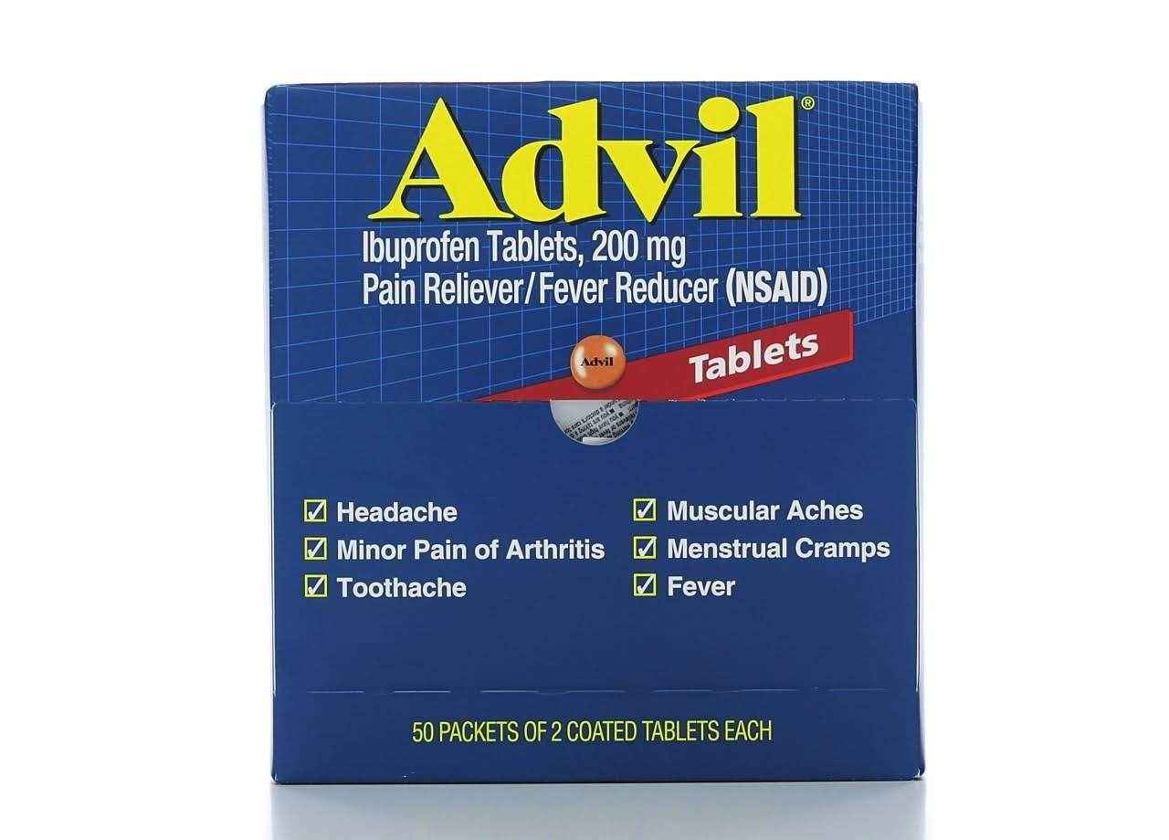 Advil Pain Reliever Refills - 50 Packets of 2 Tablets
