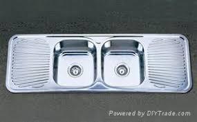 double bowl double drainboard stainless steel sink kid13848