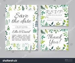 Vector Rustic Wedding Invitation Card Set With Floral Watercolor Background Template Or Announcements